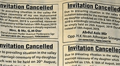 invitation cancelled in newspaper